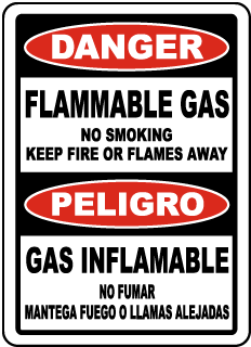 Bilingual No Smoking Flammable Gas Sign
