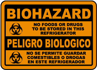 Bilingual Biohazard No Food Sign
