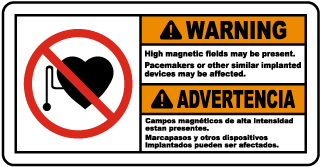 Bilingual High Magnetic Fields May Be Present Sign