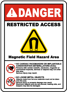 Magnetic Field Hazard Area Label