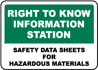Safety Data Sheets For Materials Sign