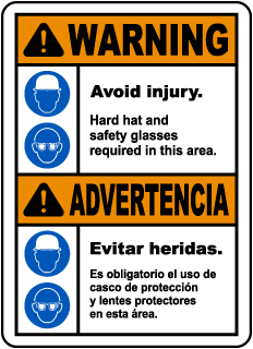 Bilingual Hard Hat and Safety Glasses Required Sign