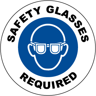 Safety Glasses Required Floor Sign