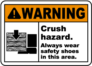 Always Wear Safety Shoes In Area Sign