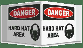 3-Way Danger Hard Hat Area Sign