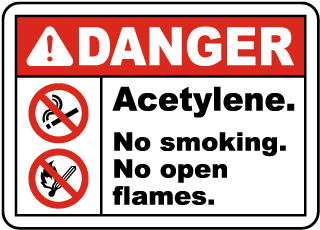 Danger Acetylene No Smoking Sign