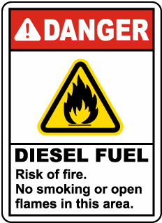 Diesel Fuel Risk of Fire No Smoking Sign