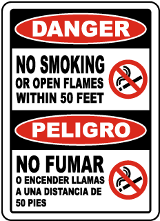Bilingual Danger No Smoking Within 50 Feet Sign