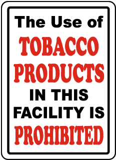 Tobacco Products Prohibited Sign