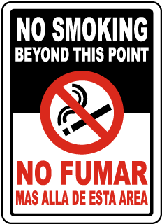 Bilingual No Smoking Beyond This Sign