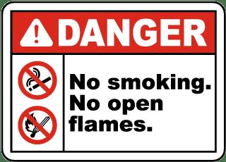 No Smoking No Open Flames Sign