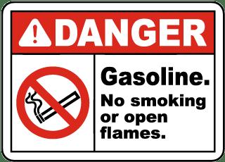 Gasoline No Smoking No Open Flame Sign