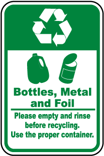 Bottles, Metal, Foil Recycle Sign