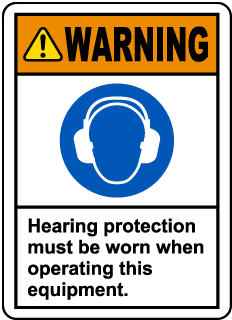 Warning Hearing Protection Label