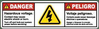 Bilingual Hazardous Voltage Lock Out Power Before Servicing Label