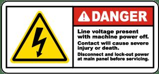 Line Voltage Present Disconnect Label