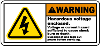 Hazardous Voltage Enclosed Label