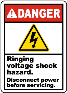 Ringing Voltage Shock Hazard Label