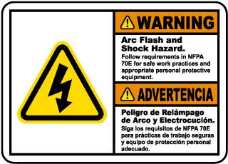 Bilingual Warning Arc Flash & Shock Hazard Label