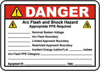 Write-On Danger Arc Flash and Shock Hazard Label