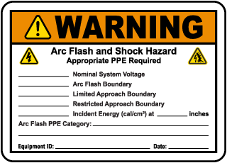 Write-On Warning Arc Flash and Shock Hazard Label