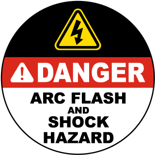 Danger Arc Flash and Shock Hazard Floor Label