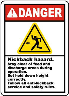 Kickback Hazard Stay Clear Label
