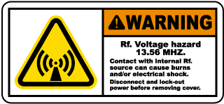 RF Voltage Hazard 13.56 MHz Label