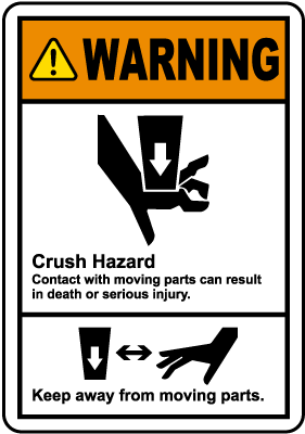 Moving Parts Crush Hazard Label