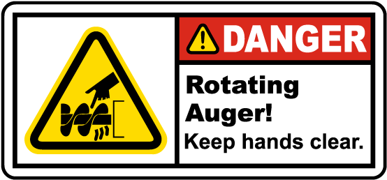 Rotating Auger Keep Hands Clear Label