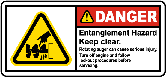 Rotating Auger Entanglement Hazard Label