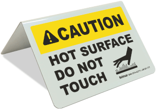 Caution Hot Surface Tent Sign