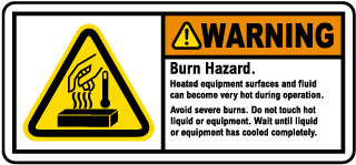 Burn Hazard Heated Equipment Label
