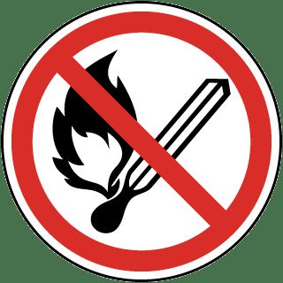 No Open Flame Symbol Label