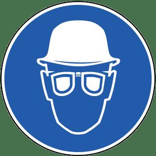 Wear Hard Hat & Eye Protection Label
