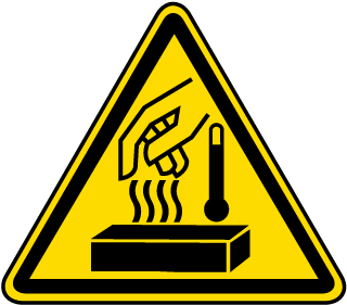 Hot Materials Warning Label
