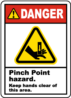 Pinch Point Hazard Keep Clear Label