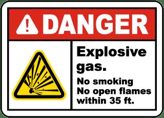 Explosive Gas No Smoking Label