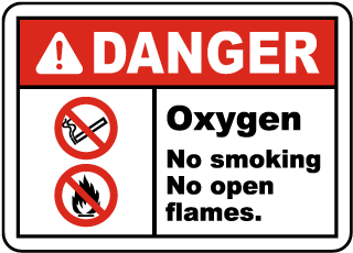 Oxygen No Smoking No Open Flame Label