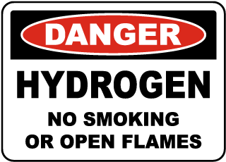 Danger Hydrogen No Smoking Label