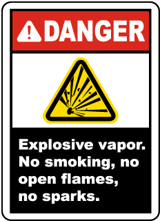 Explosive Vapor No Smoking Label