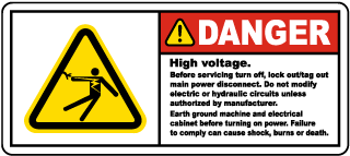 High Voltage Turn Off & Lock Out Label