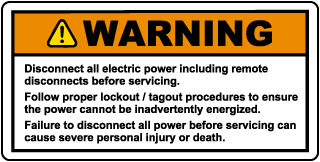 Disconnect All Electric Power Including Remote Disconnects Label