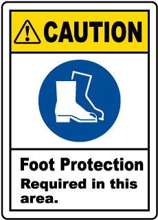Caution Foot Protection Required Label