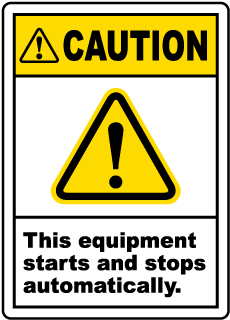 Caution Equipment Starts Automatically Label