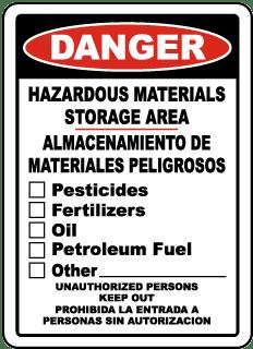 Hazardous Materials Storage Area Sign