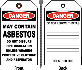 Danger May Contain Asbestos Tag