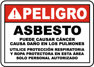 Spanish 2016 OSHA Compliant Asbestos Sign