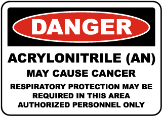 OSHA Acrylonitrile May Cause Cancer Sign