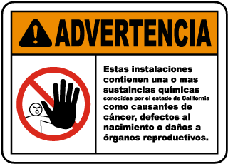 Spanish Warning This Facility Contains Chemicals Sign